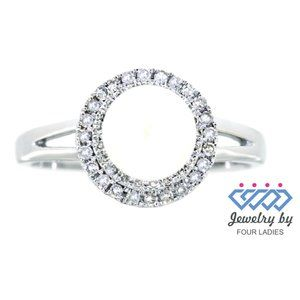 Solid Diamond Halo Pearl Ring Jewelry White Gold
